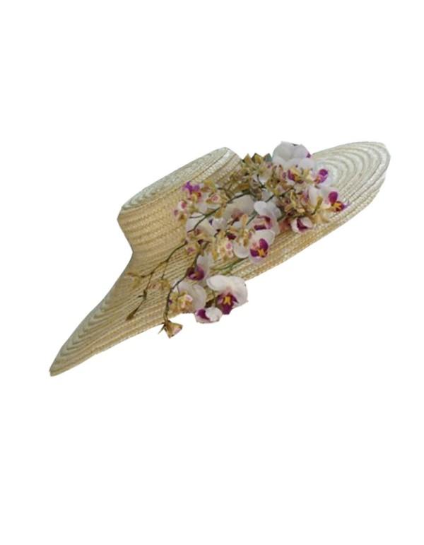 Pamela de paja natural con flor de almendro Lamatte - 1
