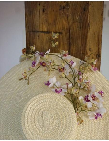 Pamela de paja natural con flor de almendro Lamatte - 2