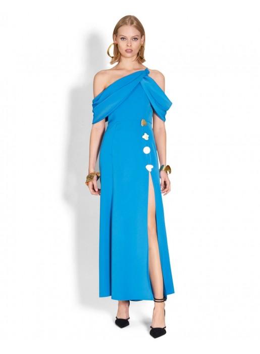 Vestido de fiesta largo con abertura y detalles dorados azul