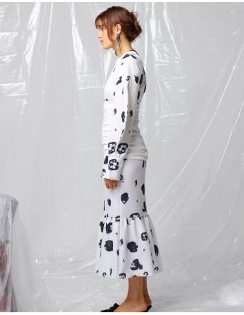 Vestido midi de manga larga asimétrica estampado - CLAUDETTE