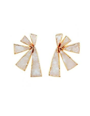 pendientes con piedras de cuarzo blancas triangunlares