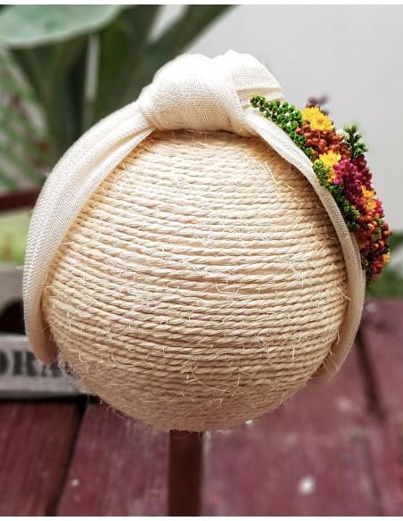 Beige natural flower headband - White Cala by Lilian - 3