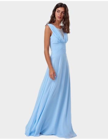 Vestido de fiesta largo azul cielo con detalle de encaje PARA INVITADAS PERFECTAS