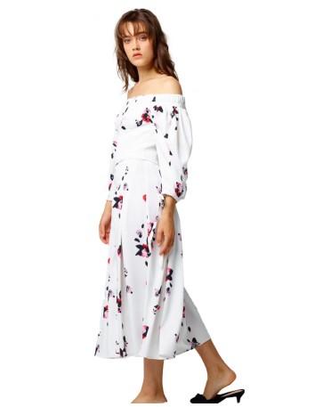 Vestido de fiesta midi blanco con estampado floral para invitadas